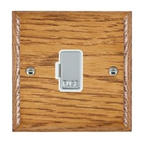 Picture of 1 Gang 13A Fuse Only / Bright Chrome / Woods Medium Oak Ovolo Edge with White Surround Inserts