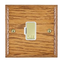 Picture of 1 Gang 13A Fuse Only /Polished Brass / Woods Medium Oak Ovolo Edge with White Surround Inserts