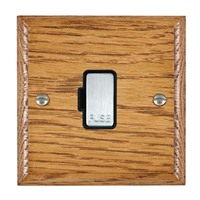 Picture of 1 Gang 13A Fuse Only / Satin Chrome / Woods Medium Oak Ovolo Edge with Black Surround Inserts