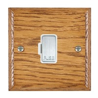 Picture of 1 Gang 13A Fuse Only / Satin Chrome / Woods Medium Oak Ovolo Edge with White Surround Inserts