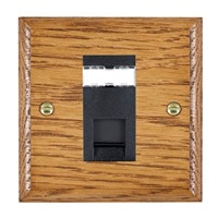 Picture of 1 Gang RJ45 CAT SE Outlet Unshielded / Black Plastic / Woods Medium Oak Ovolo Edge with Black Surround Inserts
