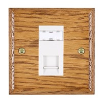 Picture of 1 Gang RJ45 CAT SE Outlet Unshielded / White Plastic / Woods Medium Oak Ovolo Edge with White Surround Inserts
