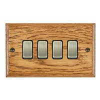 Picture of 4 Gang 10AX 2 Way Rocker / Antique Brass / Woods Medium Oak Ovolo Edge with Black Surround Inserts