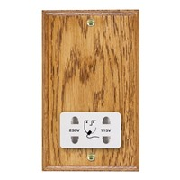 Picture of Shaver Dual Voltage Unswitched Socket / White Plastic / Woods Medium Oak Ovolo Edge with White Surround Inserts