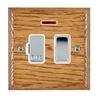 Picture of 1 Gang 13A Double Pole Fused Spur + Neon / Bright Chrome / Woods Medium Oak Ovolo Edge with White Surround Inserts