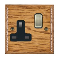 Picture of 1 Gang 13A Double Pole Switched Socket / Antique Brass / Woods Medium Oak Ovolo Edge with Black Surround Inserts