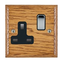 Picture of 1 Gang 13A Double Pole Switched Socket / Bright Chrome / Woods Medium Oak Ovolo Edge with Black Surround Inserts