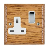 Picture of 1 Gang 13A Double Pole Switched Socket / Bright Chrome / Woods Medium Oak Ovolo Edge with White Surround Inserts