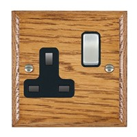Picture of 1 Gang 13A Double Pole Switched Socket / Satin Chrome / Woods Medium Oak Ovolo Edge with Black Surround Inserts