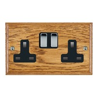 Picture of 2 Gang 13A Double Pole Switched Socket / Bright Chrome / Woods Medium Oak Ovolo Edge with Black Surround Inserts