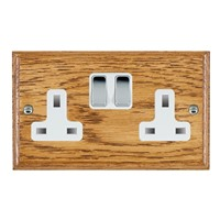 Picture of 2 Gang 13A Double Pole Switched Socket / Bright Chrome / Woods Medium Oak Ovolo Edge with White Surround Inserts