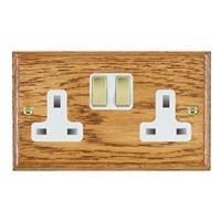 Picture of 2 Gang 13A Double Pole Switched Socket / Polished Brass / Woods Medium Oak Ovolo Edge with White Surround Inserts
