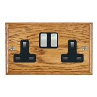 Picture of 2 Gang 13A Double Pole Switched Socket / Satin Chrome / Woods Medium Oak Ovolo Edge with Black Surround Inserts