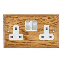 Picture of 2 Gang 13A Double Pole Switched Socket / Satin Chrome / Woods Medium Oak Ovolo Edge with White Surround Inserts