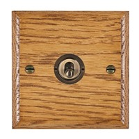 Picture of 1 Gang 20AX 2 Way Toggle Switch / Antique Brass / Woods Medium Oak Ovolo Edge with White Surround Inserts
