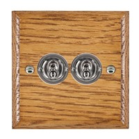 Picture of 2 Gang 20AX 2 Way Toggle Switch / Bright Chrome / Woods Medium Oak Ovolo Edge with White Surround Inserts