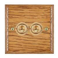 Picture of 2 Gang 20AX 2 Way Toggle Switch / Polished Brass / Woods Medium Oak Ovolo Edge with White Surround Inserts