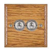 Picture of 2 Gang 20AX 2 Way Toggle Switch / Satin Chrome / Woods Medium Oak Ovolo Edge with White Surround Inserts
