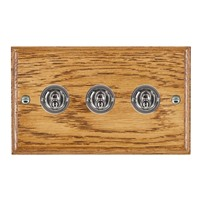 Picture of 3 Gang 20AX 2 Way Toggle Switch / Bright Chrome / Woods Medium Oak Ovolo Edge with White Surround Inserts