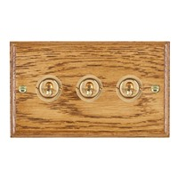 Picture of 3 Gang 20AX 2 Way Toggle Switch / Polished Brass / Woods Medium Oak Ovolo Edge with White Surround Inserts