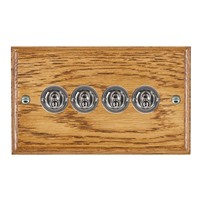 Picture of 4 Gang 20AX 2 Way Toggle Switch / Bright Chrome / Woods Medium Oak Ovolo Edge with White Surround Inserts