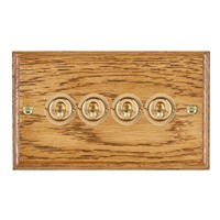 Picture of 4 Gang 20AX 2 Way Toggle Switch / Polished Brass / Woods Medium Oak Ovolo Edge with White Surround Inserts