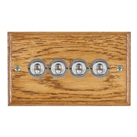 Picture of 4 Gang 20AX 2 Way Toggle Switch / Satin Chrome / Woods Medium Oak Ovolo Edge with White Surround Inserts