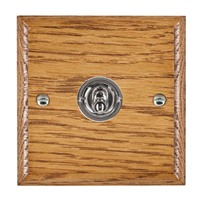 Picture of 1 Gang 20AX Intermediate Toggle Switch / Bright Chrome / Woods Medium Oak Ovolo Edge with White Surround Inserts