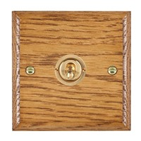 Picture of 1 Gang 20AX Intermediate Toggle Switch / Polished Brass / Woods Medium Oak Ovolo Edge with White Surround Inserts