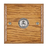 Picture of 1 Gang 20AX Intermediate Toggle Switch / Satin Chrome / Woods Medium Oak Ovolo Edge with White Surround Inserts