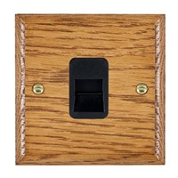 Picture of 1 Gang Telephone Slave / Black Plastic / Woods Medium Oak Ovolo Edge with Black Surround Inserts
