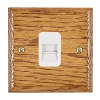 Picture of 1 Gang Telephone Slave / White Plastic / Woods Medium Oak Ovolo Edge with White Surround Inserts