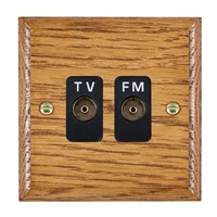 Picture of Isolated TV/FM Diplexer 1 In/ 2 Out / Black Plastic / Woods Medium Oak Ovolo Edge with Black Surround Inserts