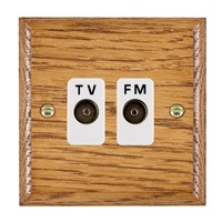 Picture of Isolated TV/FM Diplexer 1 In/ 2 Out / White Plastic / Woods Medium Oak Ovolo Edge with White Surround Inserts