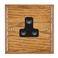 Picture of 1 Gang 5A Unswitched Socket / Black Plastic / Woods Medium Oak Ovolo Edge with Black Surround Inserts