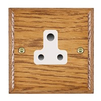 Picture of 1 Gang 5A Unswitched Socket / White Plastic / Woods Medium Oak Ovolo Edge with White Surround Inserts