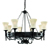 Picture of 8 Light Wrought Iron Cartwheel Fitting Complete with Glass